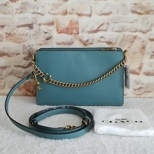 New Coach Signature Chain Leather Crossbody
